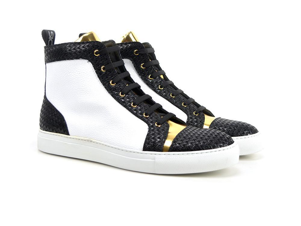 Gianmarco X Don Official Gold And White High-Top Sneakers - Shoes