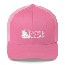 Load image into Gallery viewer, World Ocean embroidered logo mesh trucker hat in pink