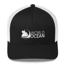 Load image into Gallery viewer, World Ocean embroidered logo mesh trucker hat in black and white