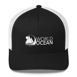 World Ocean embroidered logo mesh trucker hat in black and white