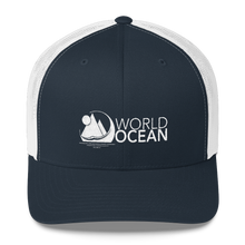 Load image into Gallery viewer, World Ocean embroidered logo mesh trucker hat in navy blue and white