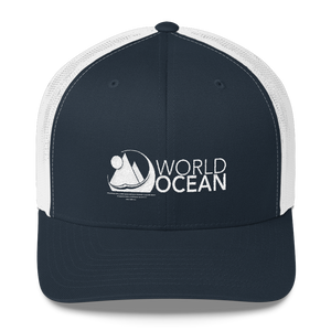 World Ocean embroidered logo mesh trucker hat in navy blue and white