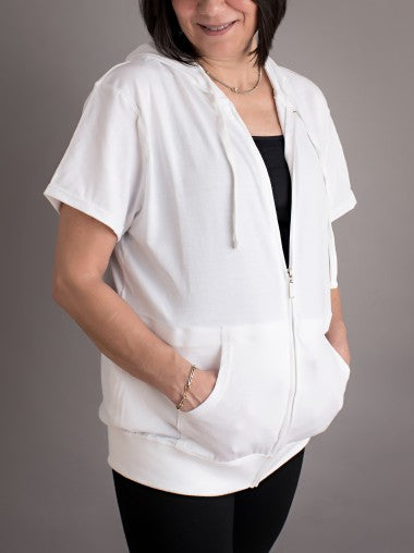 White Short Sleeve Surgical Drain Zipup