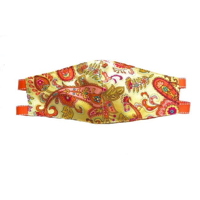 Orange Paisley Face Mask