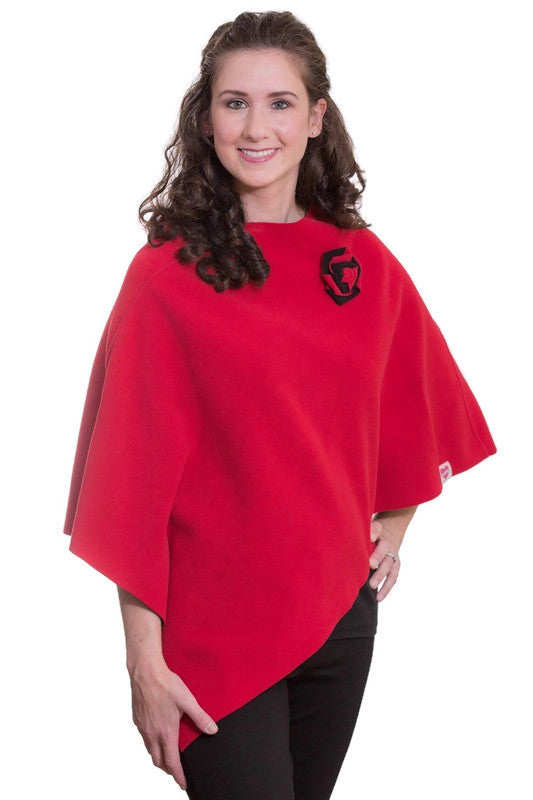 Red & Black Fleece Poncho Set