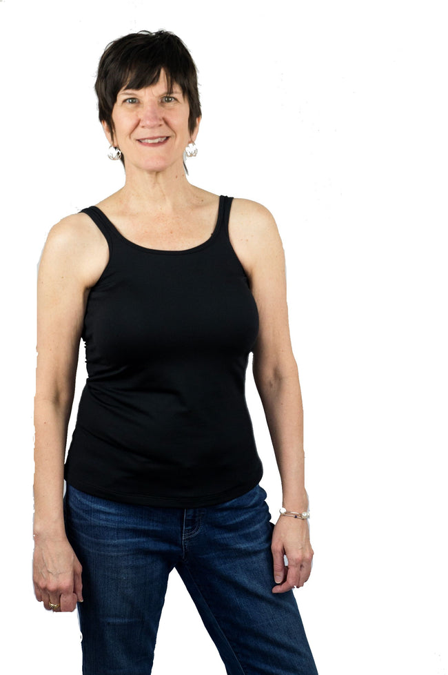 Classic Mastectomy Camisole Tank Top with Built-In Breast Prosthetics - NO Bra Band