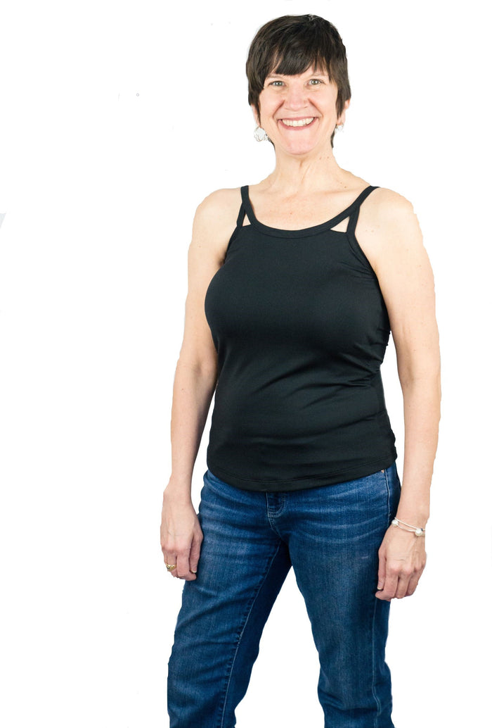Cut-Out Mastectomy Camisole Tank Top with Built-in Prosthetics - NO Bra Band