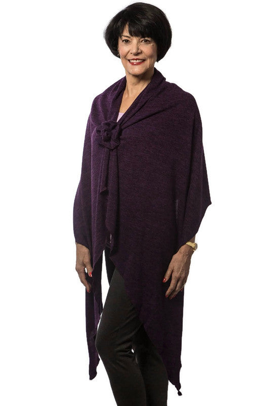 Dark Purple Knit Long Shoulder Wrap with Rosette