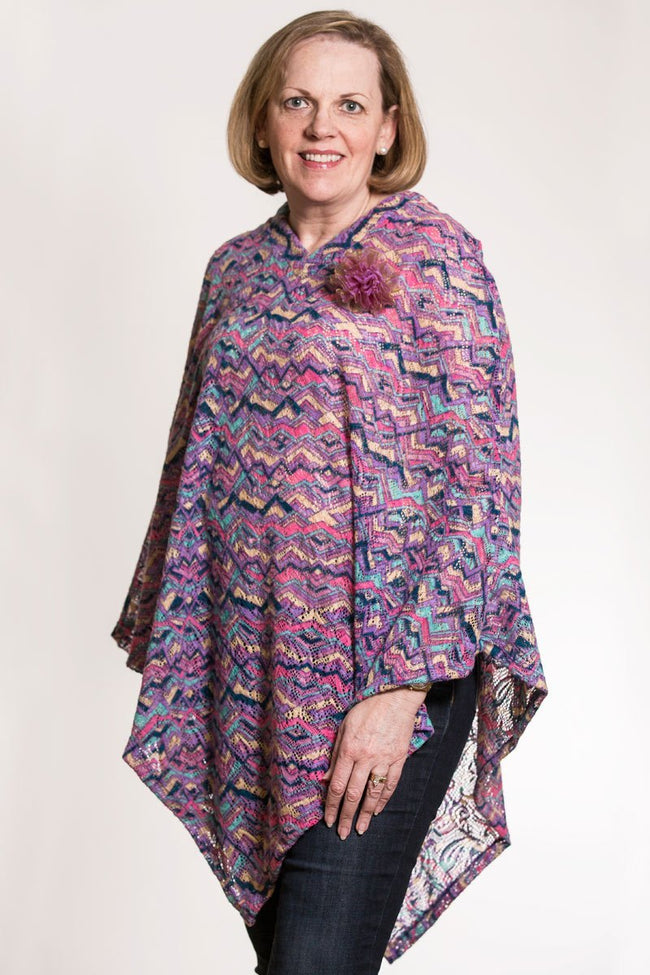 Multi Colored Pastel Brushed Crochet Poncho