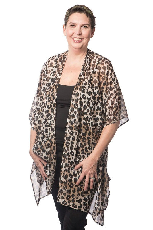Brown/Black Leopard Print Lightweight Polyester Wide Sleeve Kimono
