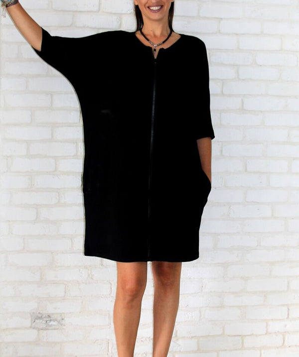 Front Zipper Tunic Dress