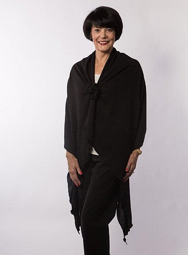 Black Knit Soft Long Shoulder Wrap With Rosette Closure