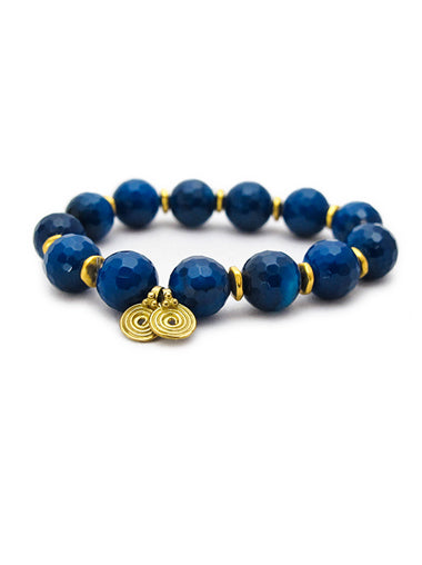 Blue Agate Bracelet with Brass Spira Charms