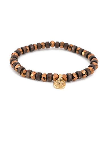 Copper and Wood Bracelet with Small Brass Spira Charm