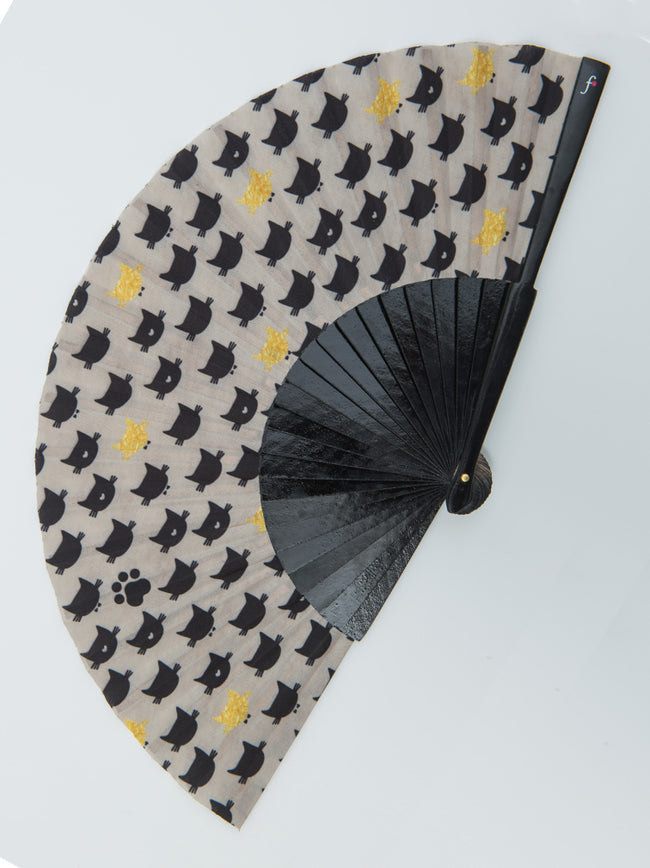 Yellow Kitty Hand Fan