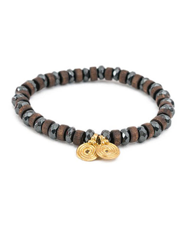 Hematite and Wood Bracelet with Brass Spira Charms