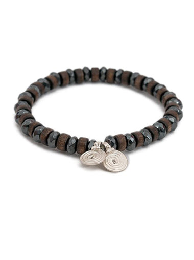 Hematite and Wood Bracelet with Silver Spira Charms