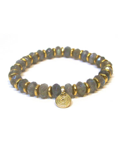 Labradorite Faceted Bracelet with Small Brass Spira Charms