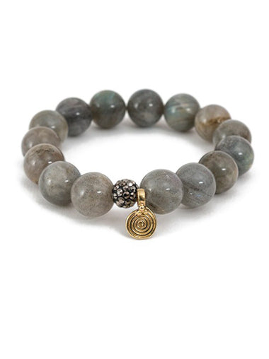 Labradorite Bracelet with Small Brass Spira Charm