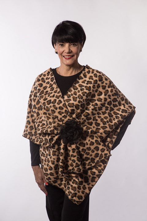 Leopard Print Fleece Wrap