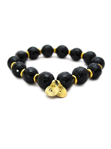 Black Onyx Bracelet with Brass Spira Charms