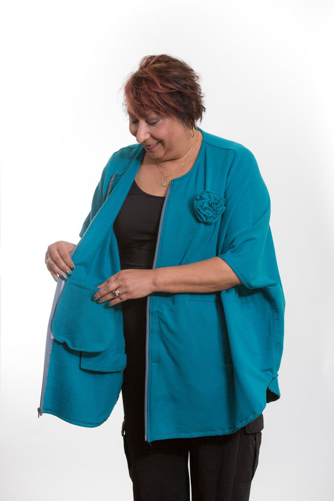 Oversized Cover-up with Drain Pouches-Teal
