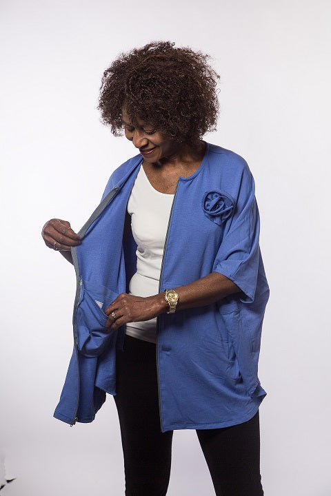 Oversized Cover-up with Drain Pouches- Periwinkle