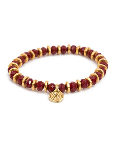 Power Red Crystal Bracelet with Brass Spira Charm