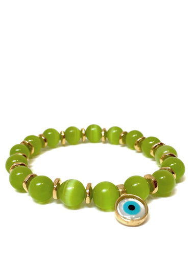 Peridot Cats Eye Bracelet with Evil Eye Charm