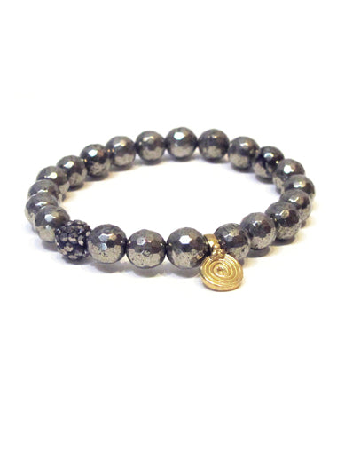 Pyrite Bracelet with Brass Spira Charm