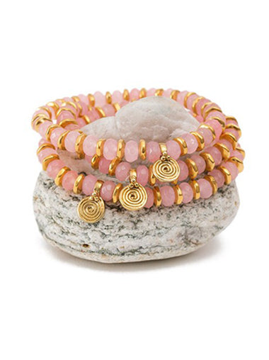 Rose Quartz Crystal Bracelet with Brass Spira Charm