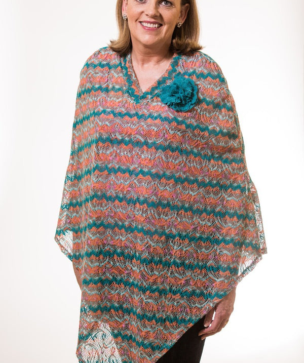 Teal and Sherbet Brushed Crochet Poncho
