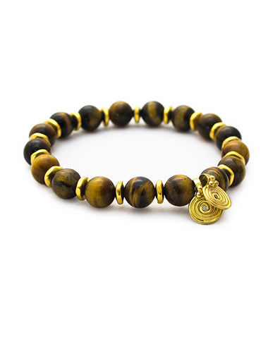 Tigers Eye Bracelet with Brass Spira Charms