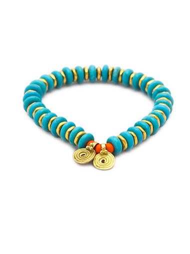 Turquoise Bracelet with Brass Spira Charms