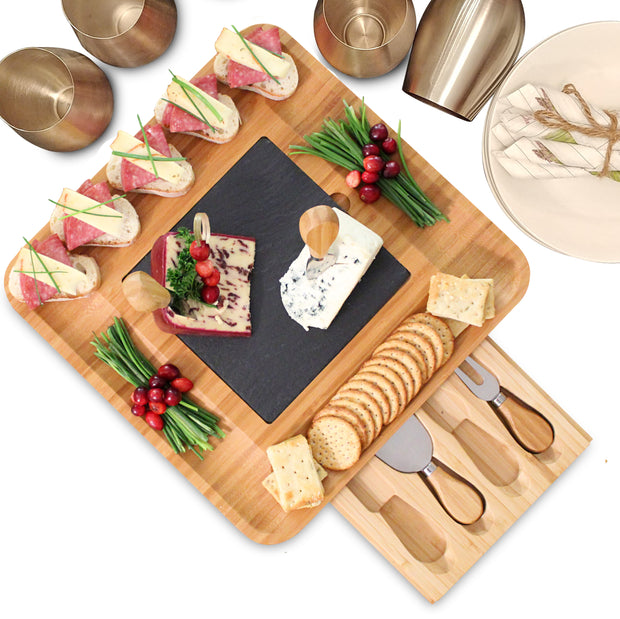 Cheese Board and Knife Set & Charcuterie Platter, Removable Slate Cheese Plate & 4-Piece Cutlery Set