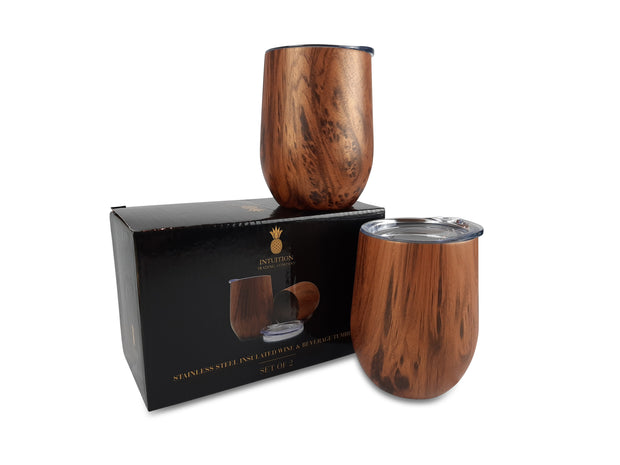 Double Wall Insulated Wine Glasses & Beverage Tumblers with Lids, 12oz, Set of 2, Wood Print