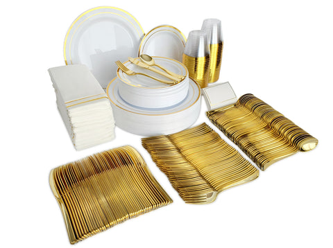 Gold Plastic Plates & Plastic Silverware Sets, 400 Pieces for 50 Place Settings