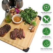 Premium Organic Bamboo Wood Cutting Board & Serving Platter