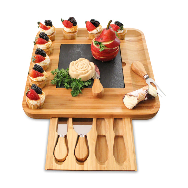 Premium Bamboo Wood Cheese Board & Charcuterie Board with Slate Cheese Plate and 4-Piece Cheese Knife Set