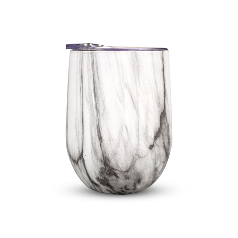 Double Wall Insulated Wine Glasses & Beverage Tumblers with Lids, Marble Print - Set of 2