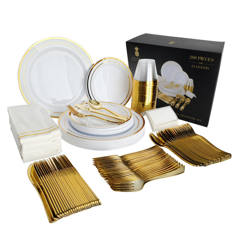 Gold Plastic Plates & Plastic Silverware Sets, 200 Pieces for 25 Place Settings