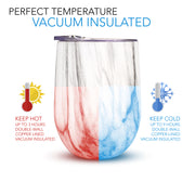 Insulated Wine & Beverage Tumblers with Lids, Marble Print - Set of 2