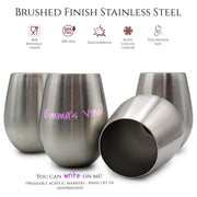18oz Stainless Steel Stemless Wine Glasses, Set of 4, with Cup Markers