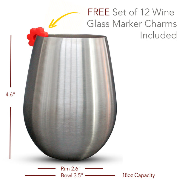 Stainless Steel Stemless Wine Glasses - Set of 4