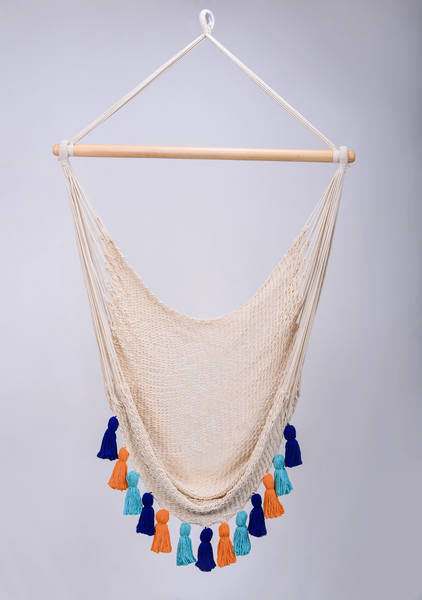 Deluxe Natural Cotton Hammock Swing with Hue Inspired Tassels