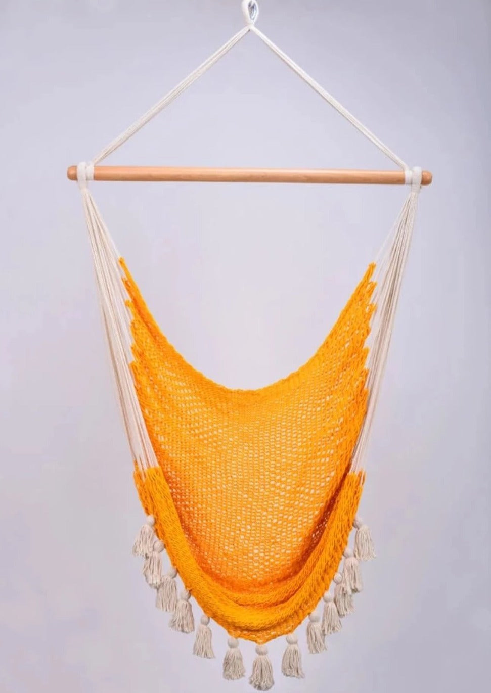 Deluxe Golden Inspired Cotton Hammock Swing with Natural Tassels
