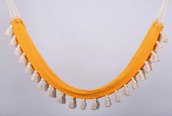 Deluxe Golden Inspired Cotton Hammock with Natural Tassels