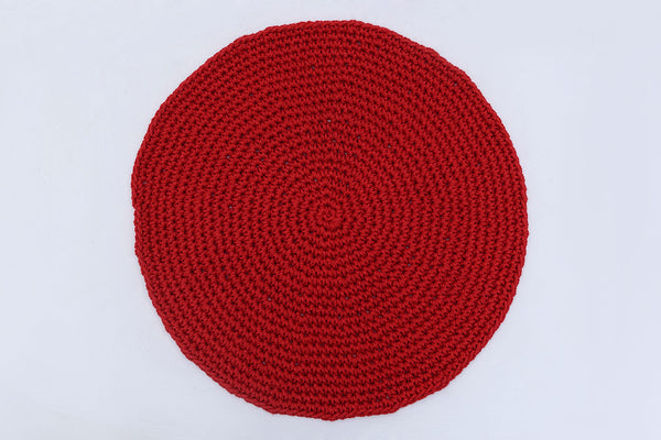 Classic Red Cotton Placemats (Set of 4 or 6) - Round