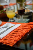 Coral Orange Handmade Cotton Placemats Set of 6 Formal Casual Decor