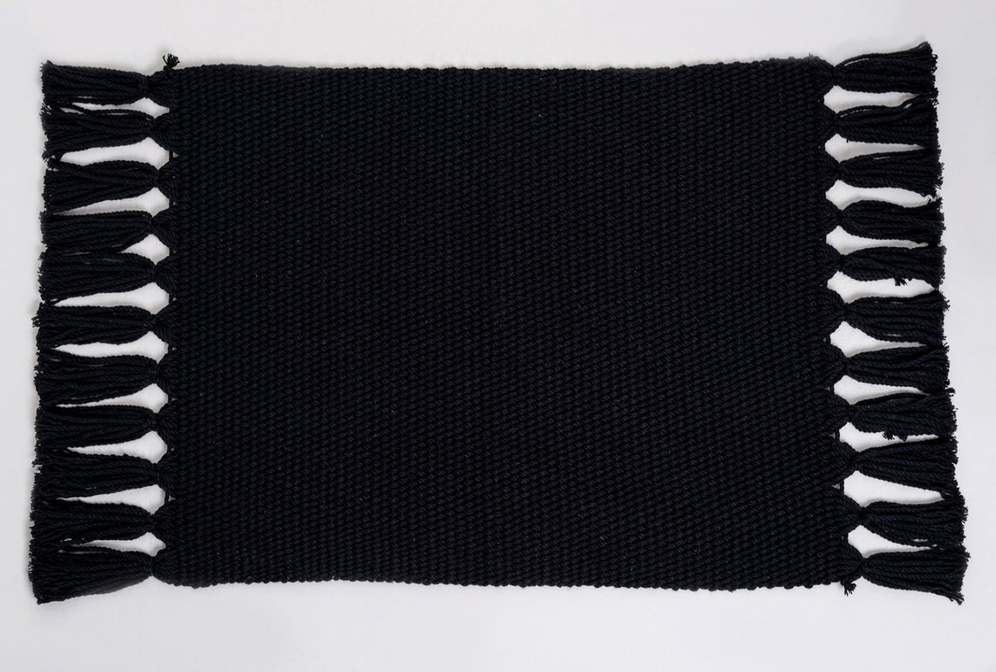 Black Handmade Cotton Placemats Set of 6 Formal Casual Decor